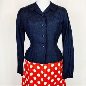 Vintage 50s Navy Silk Fitted Tailored Suit Jacket
